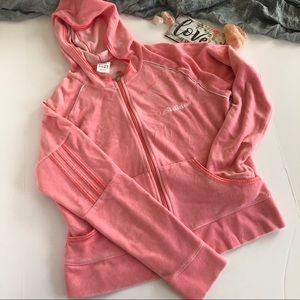 Adidas Peach Velour Zipper Hoodie size L